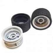Lego Parts: Power Racer Wheels Tire and Rim Bundle (2) Black 37mm x 22mm ZR Tires (2) Light Bluish Gray 30.4mm x 20mm Wheel Rims