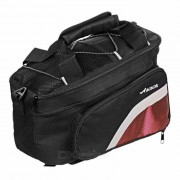 ACACIA Bolsa Extendable de Piel de Ciclismo de Ciclismo - Negro + Rojo