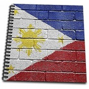 3dRose db_156968_1 National Flag of Philippines Painted Onto a Brick Wall Filipino Drawing Book 8 by 8-Inch