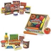 Melissa & Doug Wooden Fridge Food Set Pantry Products and Playtime Veggies