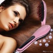 Fast Hot Hair Straightener Comb Brush Lcd Screen Flat Iron Styling HTC- 906