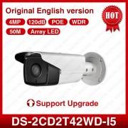 HIK Original 4mp IP Camera DS-2CD2T42WD-I5 with IR-Cut Array LED IR Night Vision 50M Range Bullet Camera