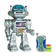 Playtech Logic RC Remote Control Robot - Talking Kids Toy Robot with Sound and Lights - Walking, Talking, Shooting RC Robot - Shoots Frisbees, Walks, Slides, Dances, Talks - PL9029