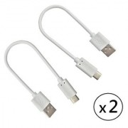 Power Bank Charging Cable Pack of 2 Cables - 8 inch Power Bank Short Charging Cable For Huawei P9 CODE ls-2115