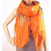RAYFLECTOR Oranžový šátek se vzorem květin a motýlů
