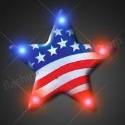 US Flag Star Flashing Blinking Light Up Body Lights Pins (5-Pack)