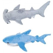 ADVENTURE PLANET - Set of 2 Plush 13 SHARKS - BLUE Shark & HAMMERHEAD Shark - Stuffed Animal - OCEAN Life - Soft Cuddly Shark Week TANK TOY Gift