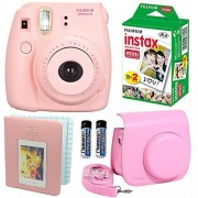 Fujifilm Instax Mini 8 Instant Film Camera Pink + Fujifilm Instax Mini Instant Film Twin Pack (20 Sheets) + Pink PU leather Case With Photo Album 64 Pockets Pink Value Set Bundle (4 item)