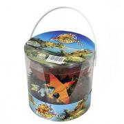 Giant Bucket of Dinosaur Action Figures Playset - 32 Dinosaurs and Accessories