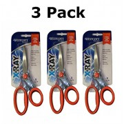 Westcott 8-Inch X-Ray Straight Scissors, Orange ( Pack of 3 Scissors)