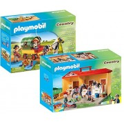 Playmobil Country Playset Bundle with Take Along Horse Stable Playset and Picnic with Pony Wagon Playset