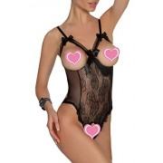 ALLureLove Women's One-piece Teddy Bodysuit Sexy Lingerie Lace Nightie (Black,XXXL)