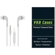 lenovo A328 tempered glass screen protector and white ear phone by vkr cases