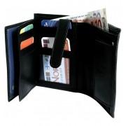 Hárombahajtott valódi bőr pénztárca - 495040010189
