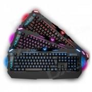 AULA 3-Color Backlit USB con cable teclado de 104 teclas de juego - Negro