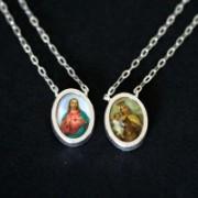 Escapulário de Prata c/resina Jesus e nossa senhora da Carme