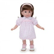 JC Toys Brunette Toddler Doll, 14-Inch Soft Body Doll Dressed in Pretty Pink Flower Dress. Open and close eyes. Designed by BERENGUER for Children 3+. by JC Toys
