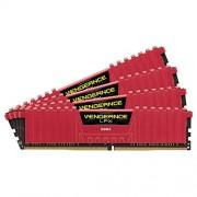 Corsair CMK32GX4M4A2666C16R Vengeance LPX Kit di Memoria RAM per Desktop a Elevate Prestazioni da 32 GB, 4x8 GB, DDR4, 2666 MHz, CL16, con Supporto XMP 2.0, Rosso