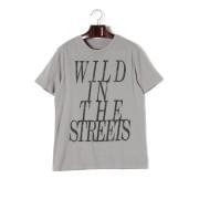 【65%OFF】Wild In The Streets プリント クルーネック 半袖Tシャツ シルバー s ファッション > メンズウエア~~その他トップス
