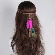 rosegal Peacock Feather Indian Charm Headwear