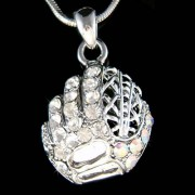 Swarovski Crystal Baseball Softball Mit Mitten Gloves Necklace Jewelry