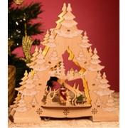 LED-es Világító Asztali Dekor, Fából készült Karácsonyfa, KAD24