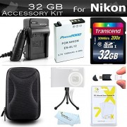 32GB Accessories Kit For Nikon COOLPIX S9900 A900 s9700 AW130 S800c Digital Camera Includes 32GB High Speed SD Memory Card + Replacement (1200maH) EN-EL12 Battery + AC/DC Travel Charger + Case + More
