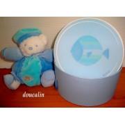 Doudou Peluche Ours Bear Teddy Kaloo Blanc Bleu Poisson