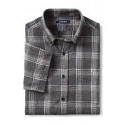 ランズエンド LANDS' END メンズ・リネン・シャツ/柄/半袖(グレーマルチプラッド)