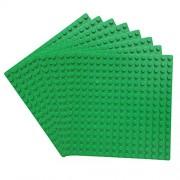 Katara - Set di 8 Base di Costruzione Compatibile con Classic Lego/ Q-Briques/ Asmodee/ Sluban, 8 Piattaforme di Costruzione per Giochi con Mattoncini, per Giochi Creativi e Divertenti - Dimensioni 13Cm X 13Cm - Verde