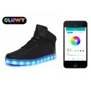 Svietiace topánky sneakers čierne - ovládanie cez bluetooth na mobile