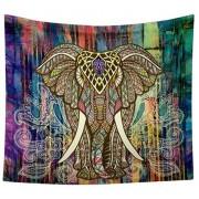 Cearceaf de plaja cu elefant indian si fundal multicolor abstract