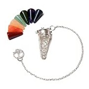 Find Something Different Aum Pendulum Silver-plated with 7 Chakra Gemstones