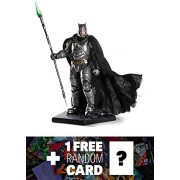 "Battle Damaged Armored Batman: ~9.8"" 1/10 Batman v Superman- Dawn of Justice x Iron Studios Art Scale Statue Figurine + 1 FREE Official DC Trading Card Bundle"