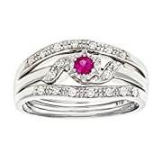 Naava 9 ct White Gold Women's Diamond and Pink Sapphire Ring