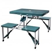 vidaXL Сгъваема маса за къмпинг с 4 стола