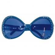 Blauwe brillen met diamantjes