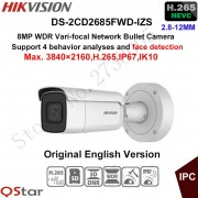 Hikvision 8MP WDR Vari-focal Security IP Camera H.265 DS-2CD2685FWD-IZS Bullet CCTV Camera 2.8-12mm face detection IP67 IK10