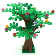 LEGO Custom Creative Tree Kit 2 (Brown with 16 Green and Bright Green Leaves and 18 Flowers)