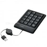 Silicona USB teclado numerico de 18 teclas / Numpad para portatil (negro)