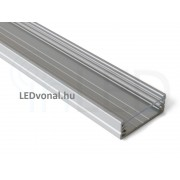 Alumínium U profil LED szalaghoz , 1 v. 2 méter , VÍZTISZTA fedővel , WIDE