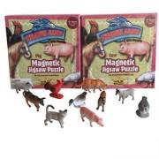 Farm Animal Jigsaw Puzzle Magnetic Travel Kit and 10 Small Plastic Animals -Bundle: 2 Puzzles 1 Bag Farm Animals