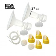 Maymom Breast Pump Kit for Medela Pump in Style Pumps; 2 Large One-piece 27mm Breastshields, 4 Valves, 6 Membranes, & 2 Pump-in-Style Tubing;