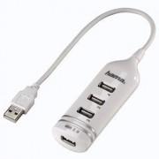 Hub USB Hama 4 porturi cu alimentare alb