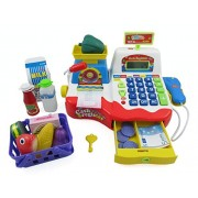 Power Trc Supermarket Cash Register With Checkout Scanner, Weight Scale, Microphone, Calculator, Play Money And Food Shopping Playset For Kids