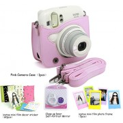 CAIUL 4 in 1 Fujifilm instax Mini 25 Instant Camera Accessories Bundles (Included: Pink Instax Mini 25 Case/ Instax mini 25 Close-Up selfie Lens/3 inches Colorful Film Frame/ Instax Mini Film Stickers)