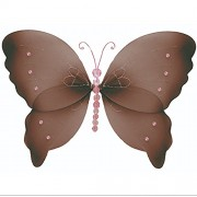 "Hanging Butterfly 13"" Large Brown Pink Crystal Nylon Butterflies Decorations. Decorate a Baby Nursery Bedroom, Girls Room Ceiling Wall Decor, Wedding, Birthday Party, Bridal Baby Shower, Bathroom. Kids Childrens Butterfly Decoration 3D Art Craft"