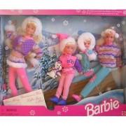 Winter Holiday BARBIE Gift Set - Sledding Fun w Barbie Koko Stacie Kelly & Skipper Dolls & Dog (1995)