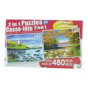 LPF 480 Piece 2-in-1 Puzzle ~ Dawn's Light & Red Roofed Covered Bridge, New Hampshire (2 X 240pc Puzzles - Mixed in 1 Box) by LPF