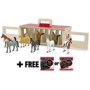 Take-Along Show Horse Stable 4-Piece Figure Play Set + FREE Melissa & Doug Scratch Art Mini-Pad Bundle